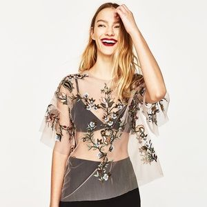 Zara Sheer Tulle Embroidered Floral Mesh Shirt